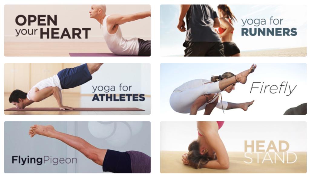 Exemples de programmes de yoga sur le site MyYogaWorks