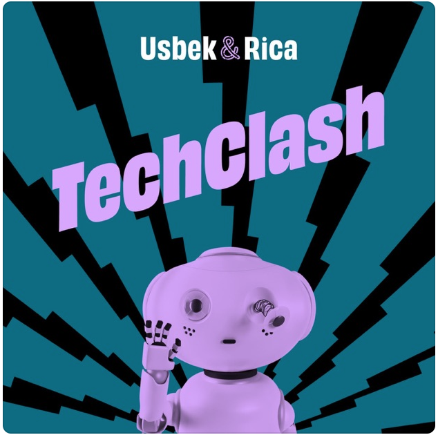 "Logo du podcast ""Techclash"", par Usbek & Rica. Les 5 meilleurs podcasts web !"