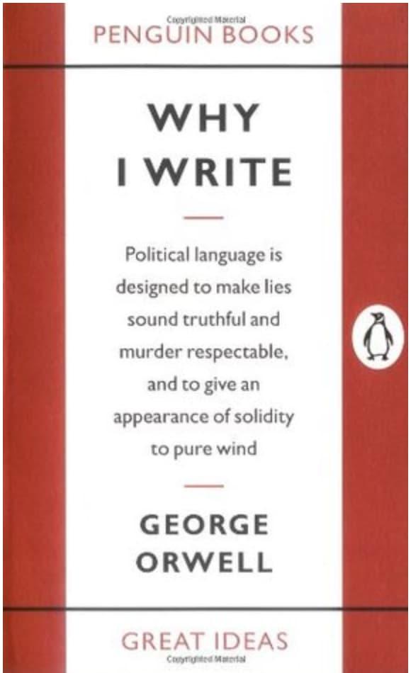 "couverture du livre ""Why I write"", recueil d'essais de George Orwell"