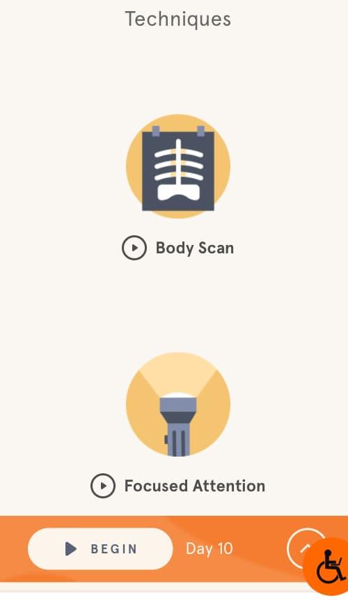 L'appli Headspace, listant les techniques utilisées pour apprender à méditer