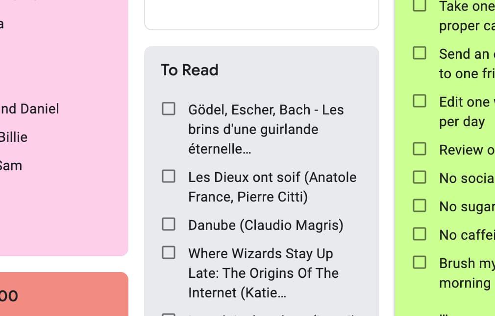 Capture d'écran de mes listes diverses et variées