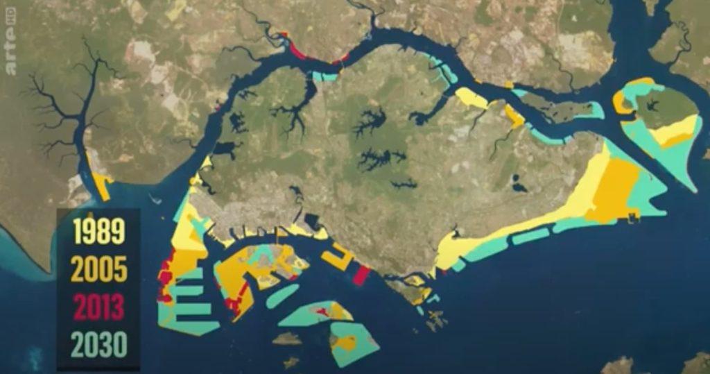 L'île de Singapour s'étend progressivement sur la mer, au prix d'une consommation effrénée de sable