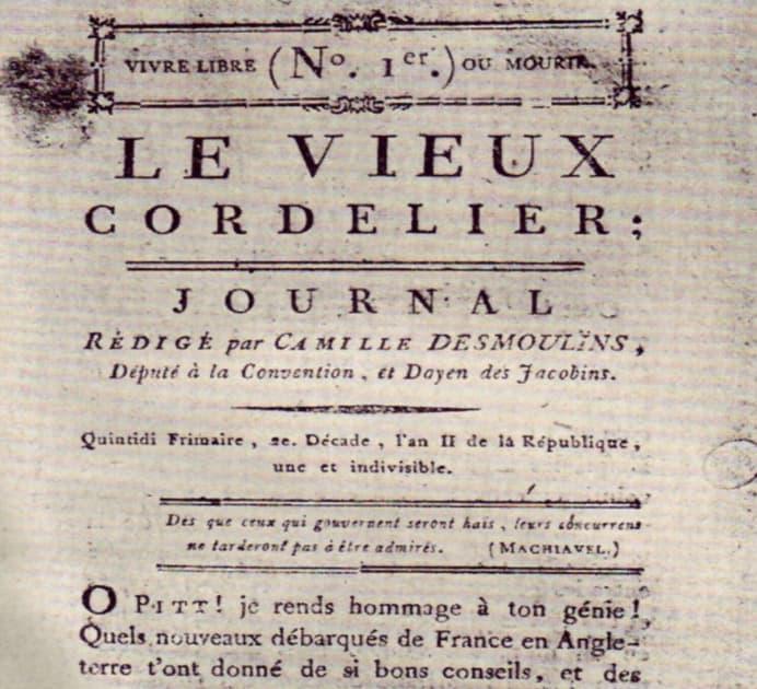 """Première une du journal """"Le Vieux Cordelier"""", en 1793 - BNF"""