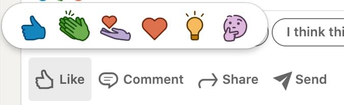 Les réactions aux posts LinkedIn